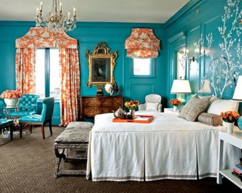 complementary color of teal so it would only be right that a bedroom