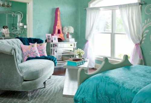 teal bedrooms. A little girl s room is dressed in its own version of teal and turquoise  The Eiffel tower light fixture a whimsical touch Such as pretty to grow Guest Blog the bedroom Chicks On Go